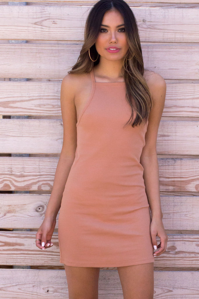 Apricot Ribbed Cami Dress