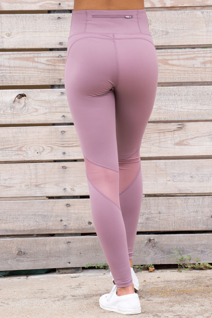 High Waisted Slanted Mesh Leggings - Berry