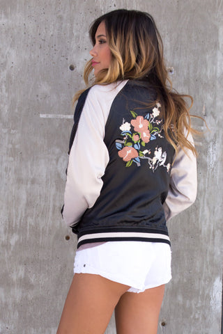 Bird Embroidered Satin Bomber Jacket