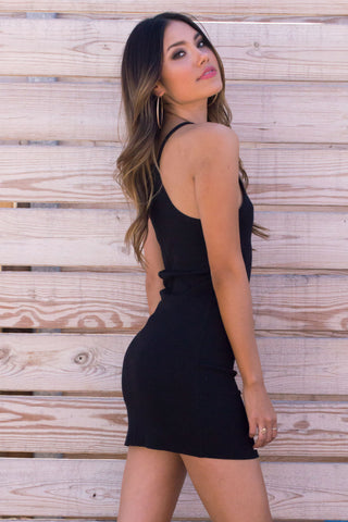 Black Ribbed Cami Dress