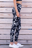 Black High Waist Floral Leggings