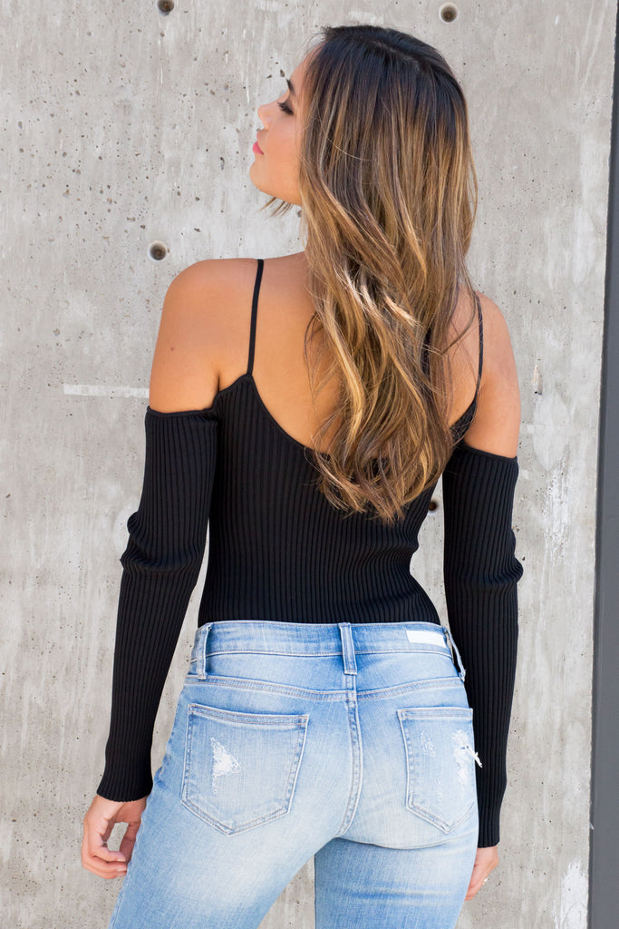 Sweet Talk Ribbed Bodysuit - Black