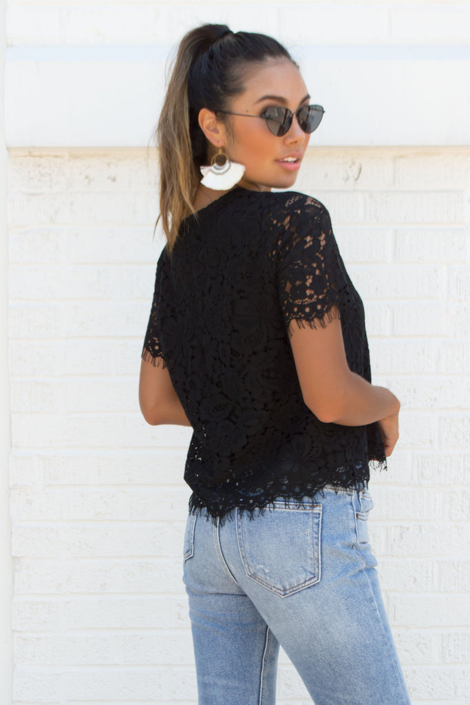 Venice Black Floral Crochet Top