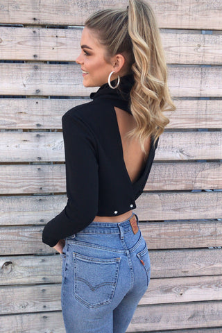 Julia Mock Neck Open Back Crop Top - Black