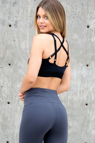 Black Cross Back Sport Bra