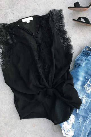 Kase Black Lace Tank Top