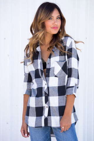 Livi Black White Plaid Top