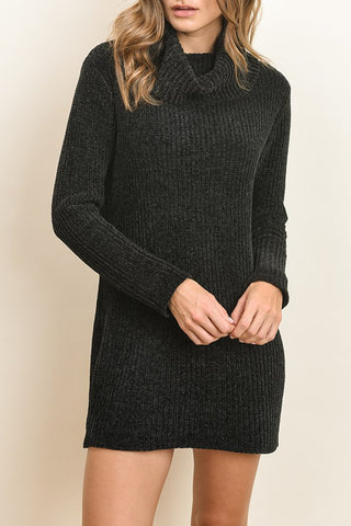 Black Knit Turtle Neck Dress