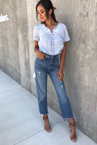 Sweet Embroidery Blue Checker Top