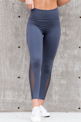 High Waist Blue/Grey Mesh Workout Leggings