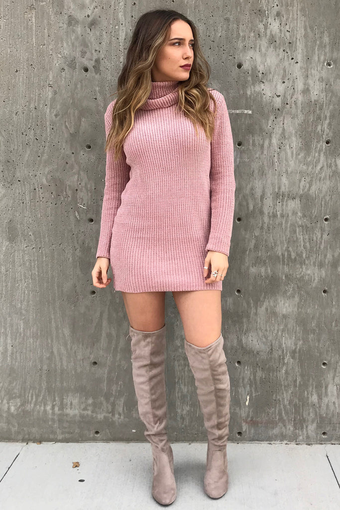 Blush Knit Turtle Neck Dress