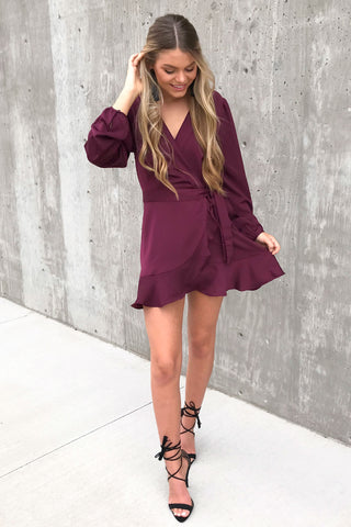 Antonia Wine Long Sleeve Wrap Dress