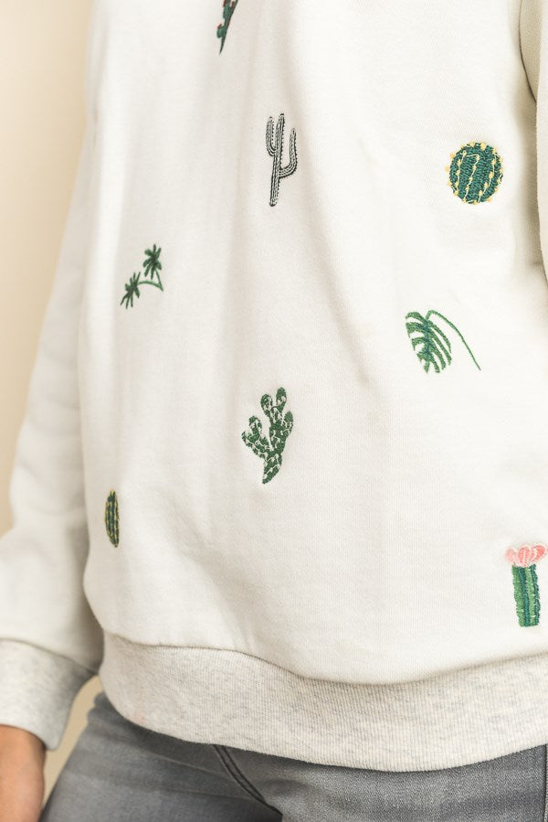 Cactus Embroidered Sweatshirt