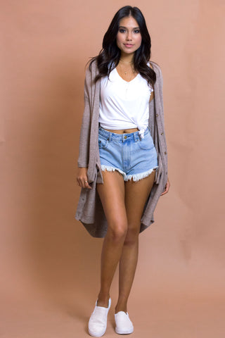 Aster Taupe Knit Cardigan