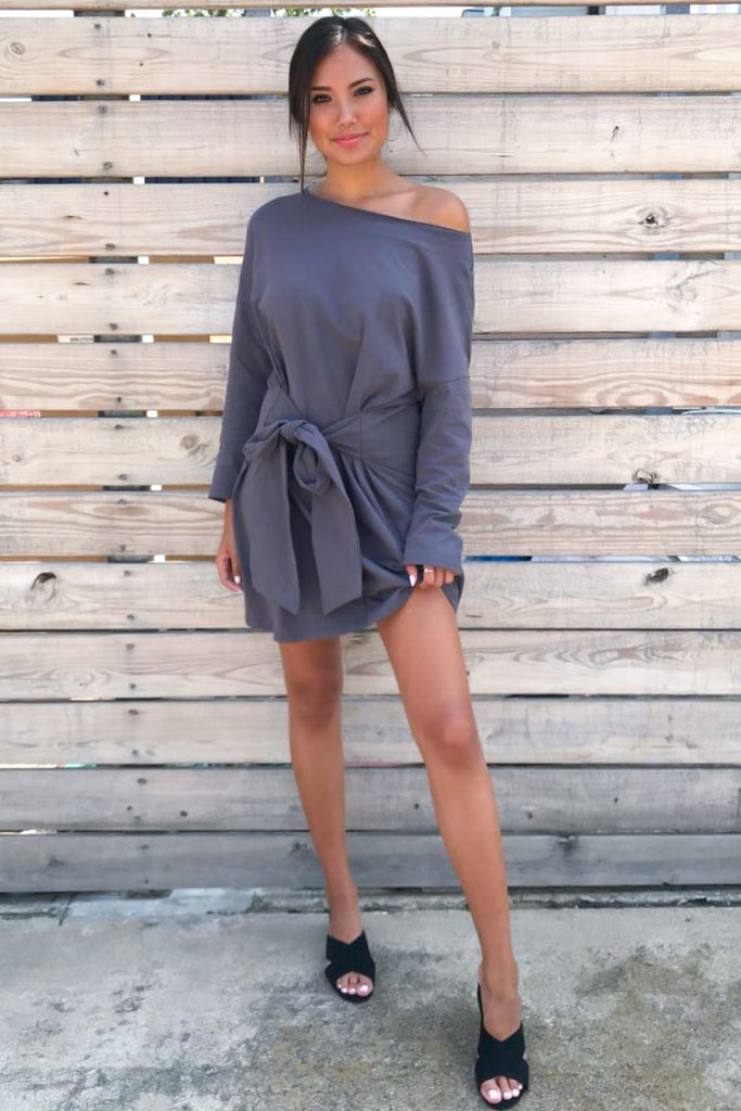 Sweetly French Terry Sweatshirt Waist Tie Dress- Charcoal
