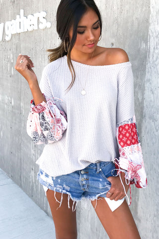 Lost Gypsy Contrast Sleeve Knit Top
