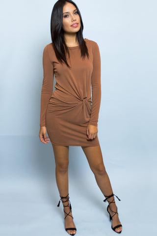 Alexa Side Twist Long Sleeve Copper Dress