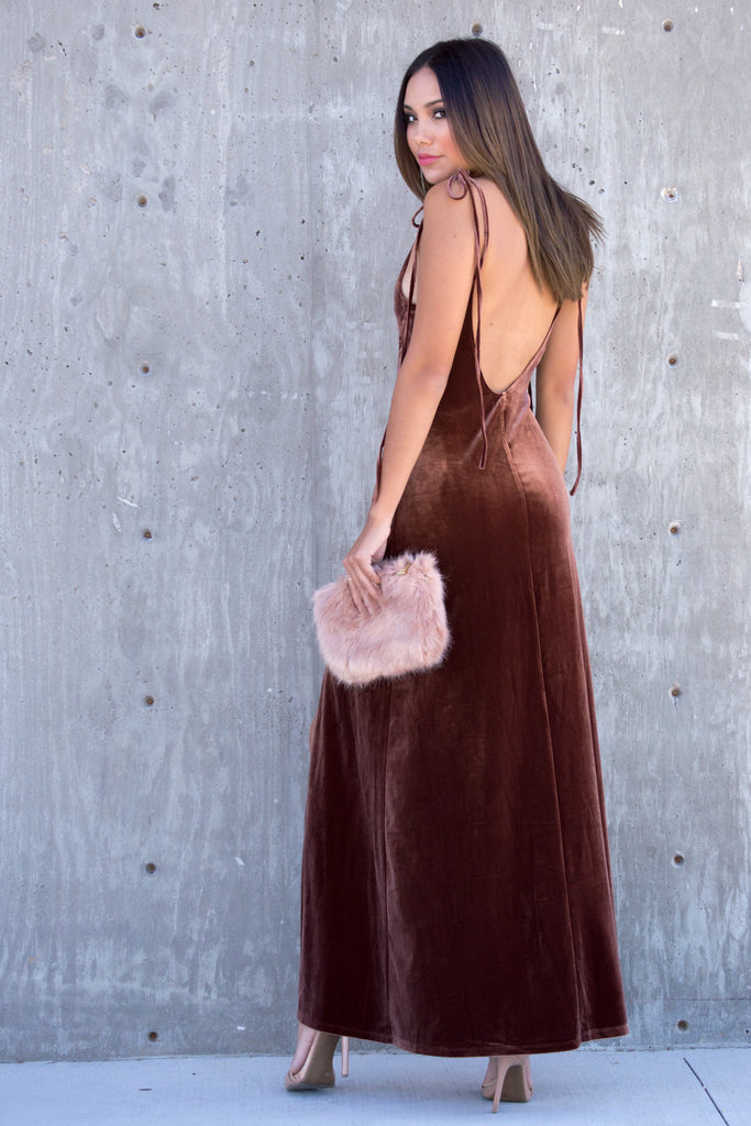 Copper Velvet Slit Maxi Dress