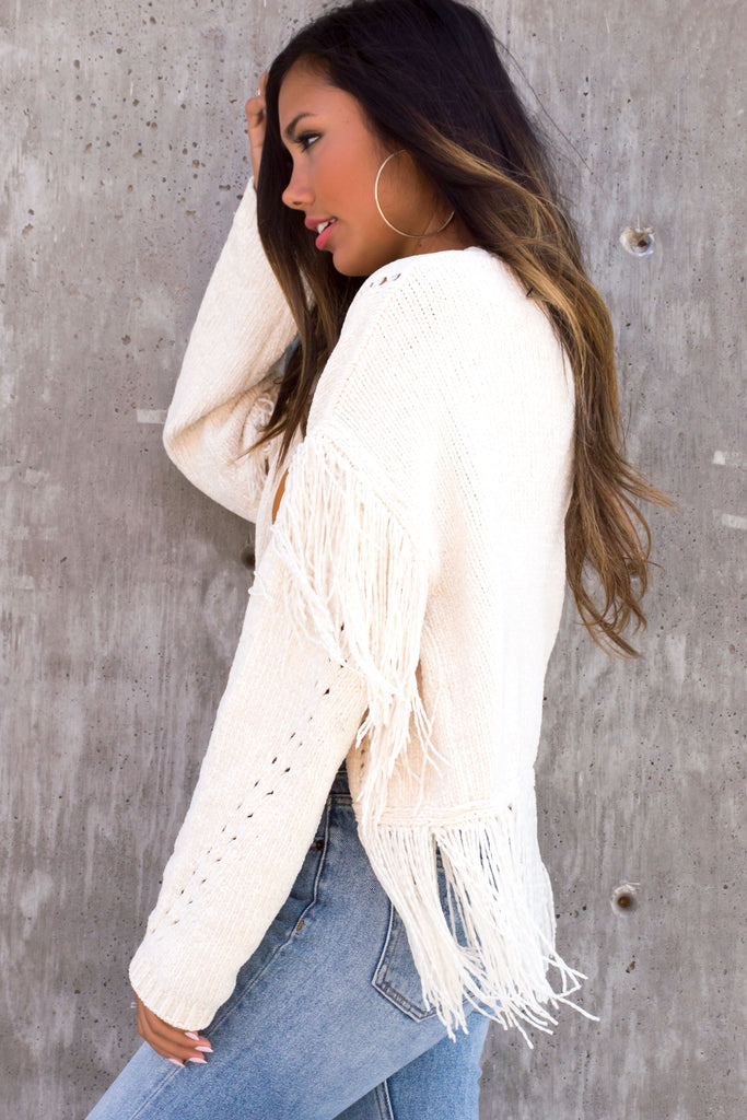 Aylee Cream Fringe Knit Cardigan
