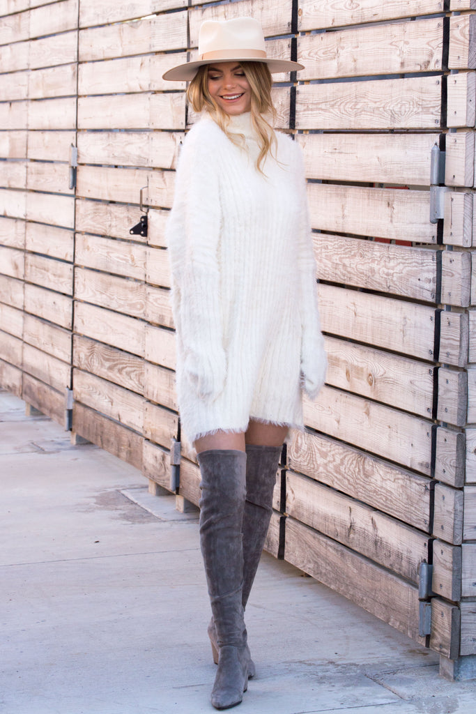 Winter Dolce Fuzzy Sweater Dress