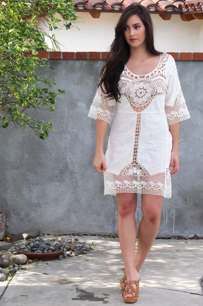 Island Dreamer Crochet Embroidery Dress