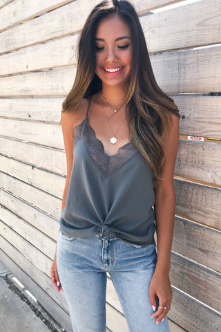 DELICATE BALANCE LACE CAMI TANK- Grey