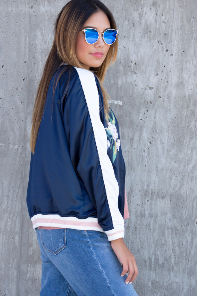Reversible Satin Floral Bomber Jacket