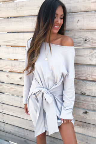 Sweetly French Terry Sweatshirt Waist Tie Dress- Grey