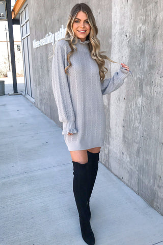 So in Love Cable Knit Sweater Dress
