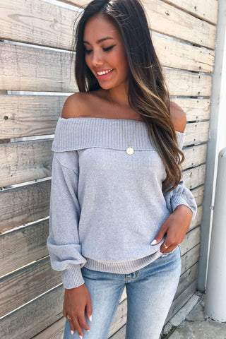 Dreamy Knit off the shoulder Grey sweater top