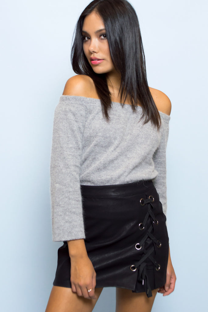 Aurora Off The Shoulder Knit Top - Grey
