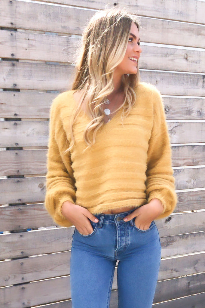 Tender Loving Honey Fuzzy Knit Crop Sweater