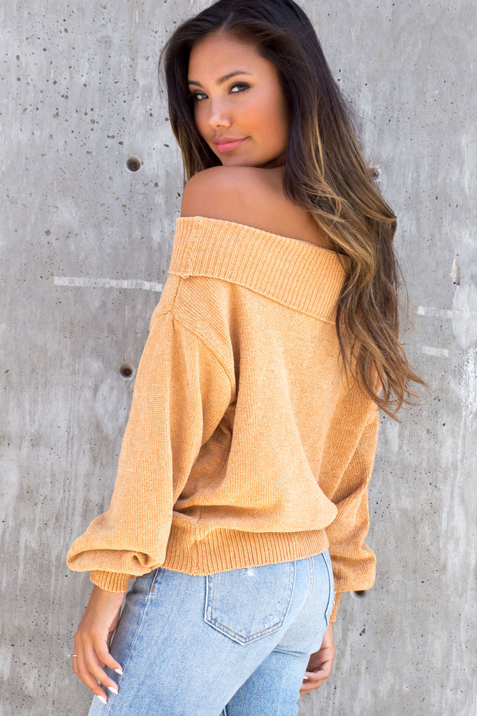 Dreamy Knit off the shoulder honey sweater top