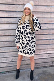 Snow Leopard Turtle Neck Knit Dress