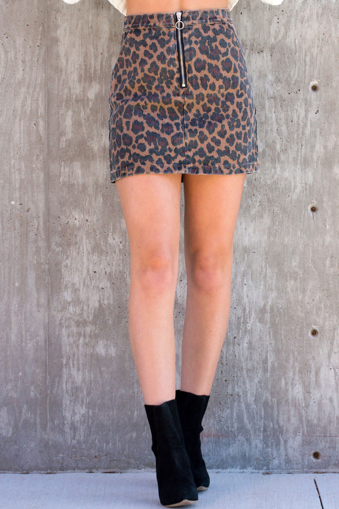 Leopard Denim Mini Skirt