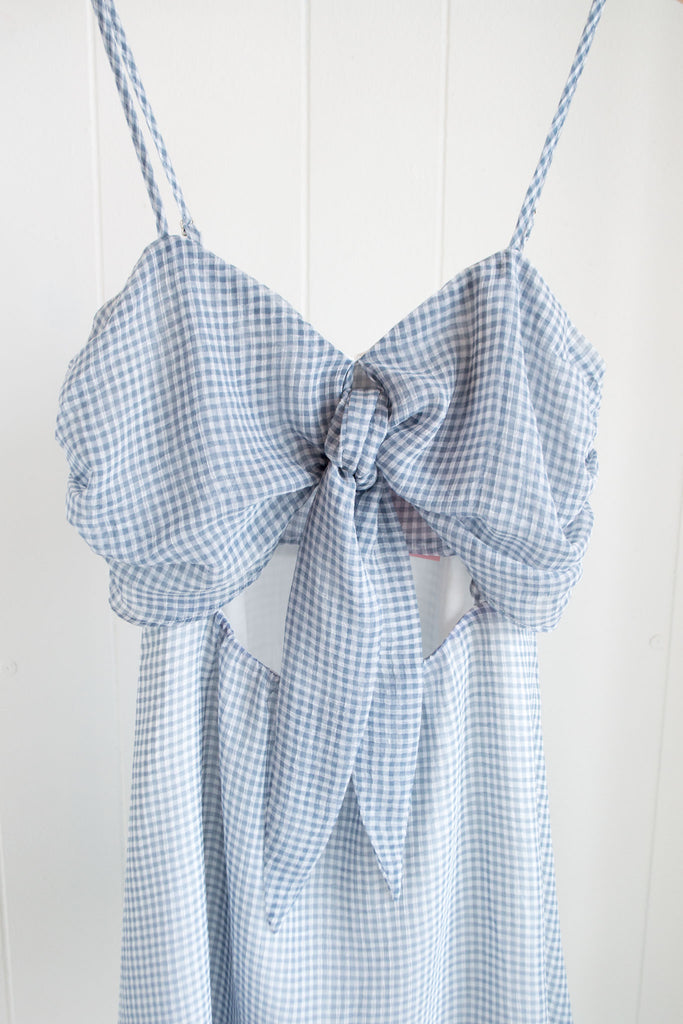 Light Blue Gingham Front Knot Dress