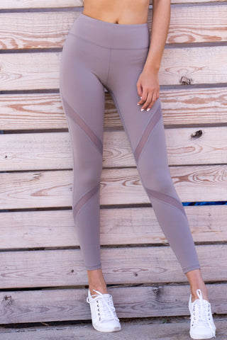 Mocha Cross Mesh Leggings