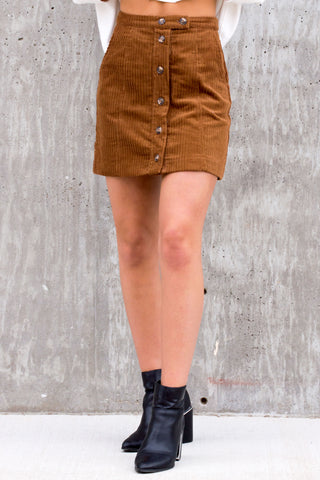 Feel The Sun Tan Corduroy Skirt