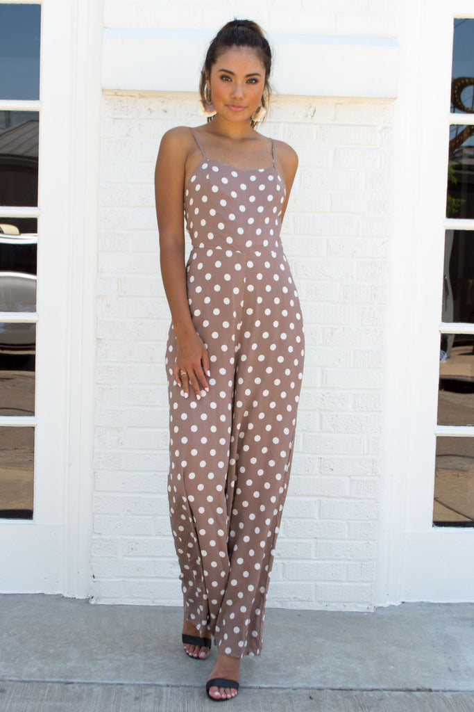 Mocha Polka Dot Wide-Leg Jumpsuit