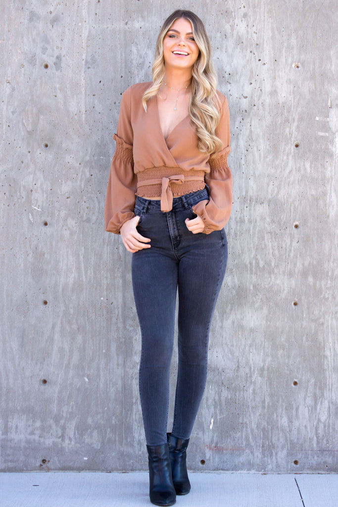 Latte Wrap Ruffle Top