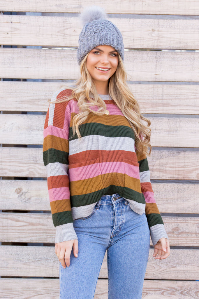 Brady Striped Pocket Pullover Knit Sweater