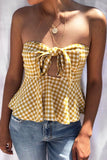 Sweetheart Mustard Gingham Front Tie Top