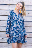 Mandy Floral Ruffle Dress - Navy
