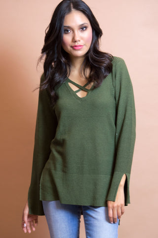Eviana Cross Front Knit Top - Olive