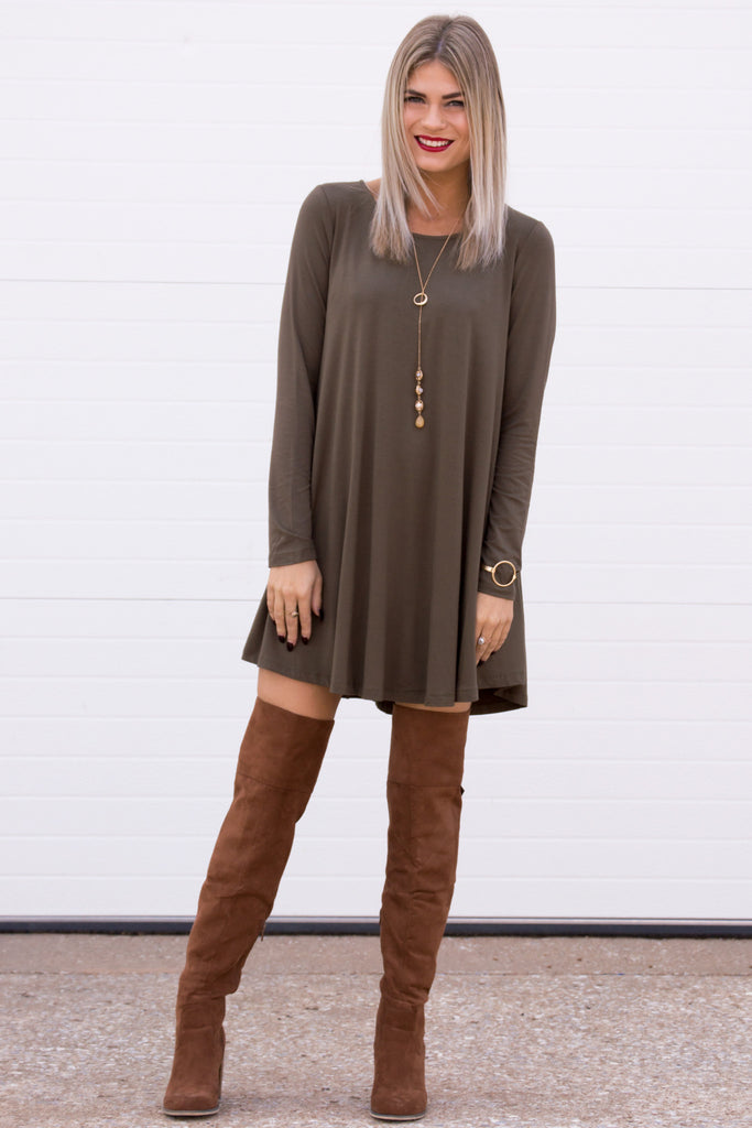 Cara Long Sleeve Shift Dress- Olive