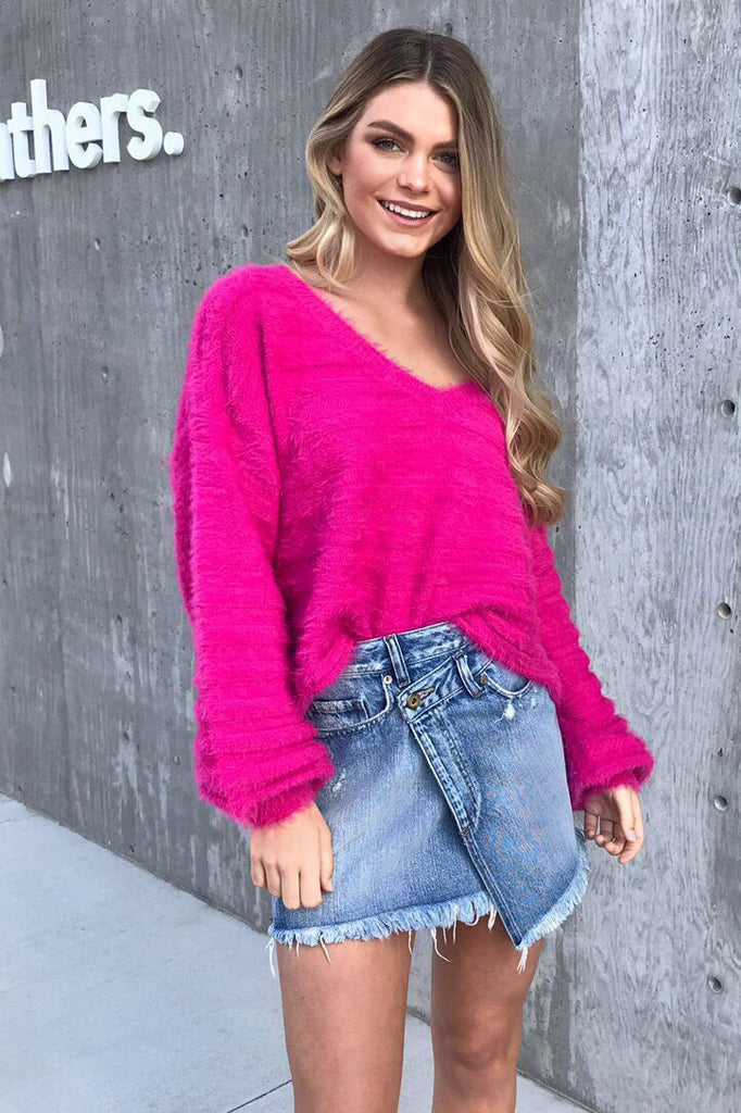 Tender Loving Fuzzy Knit Sweater - Bubble Gum Pink