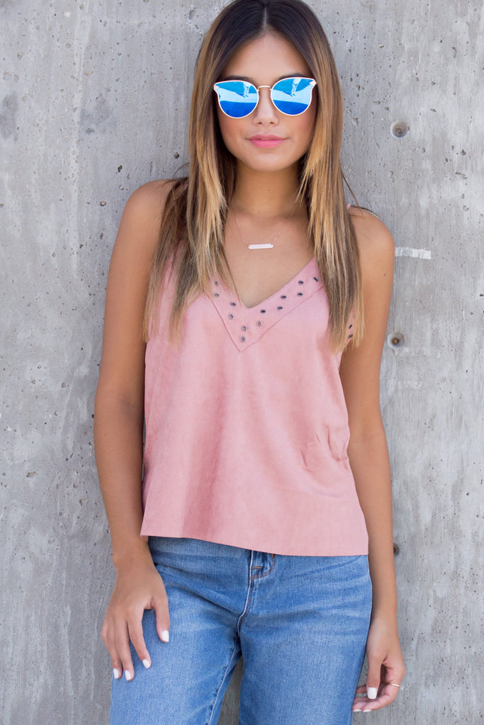 Dusty Pink Suede Cami Tank