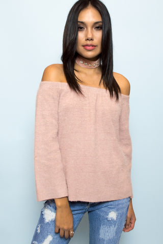 Aurora Off The Shoulder Knit Top - Blush