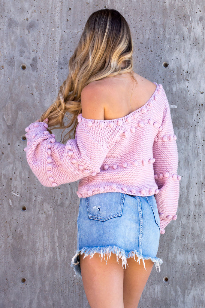Snuggled Up Pom Pom Sweater - Blush