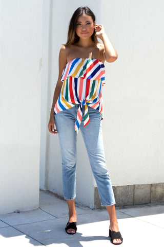 Rainbow Stripe Front Tie Top